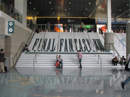 Final Fantasy XIII is painted onto the steps of the LA Convention Center. The second day of the show the paint was wet so everyone had to funnel up the escalator to get in. Argh.