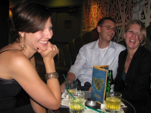 Ms. Tara Bruno, looking fine, Donald Mustard (designer of Shadow Complex designer), and Laura Heeb Mustard (PR queen) laughing it up.